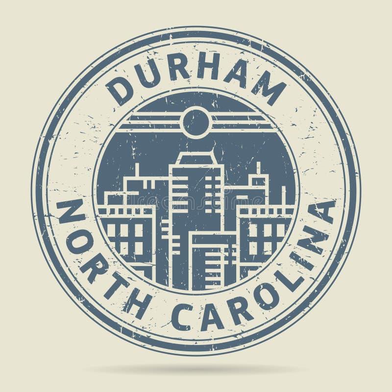 Timbro di gomma o etichetta di lerciume con testo Durham, Nord Carolina illustrazione di stock