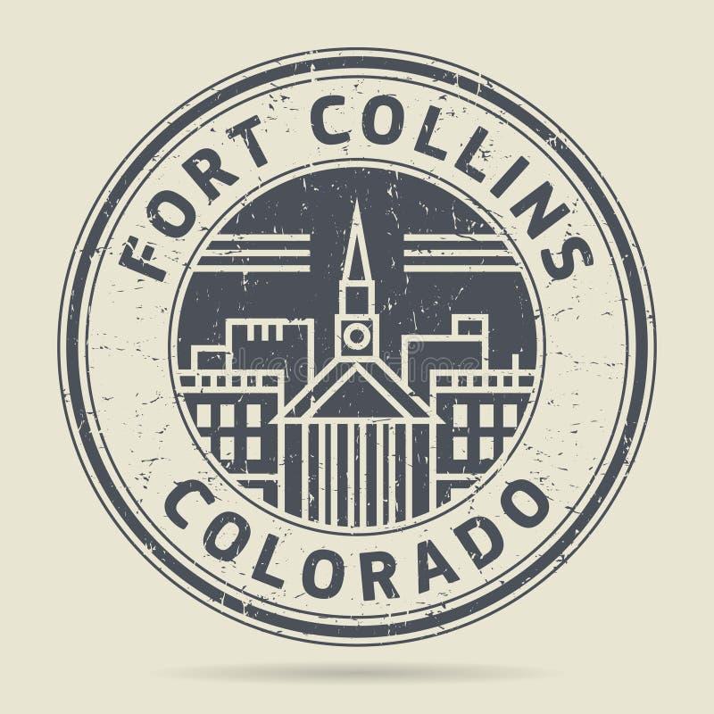Timbro di gomma o etichetta di lerciume con testo Fort Collins, Colorado illustrazione di stock