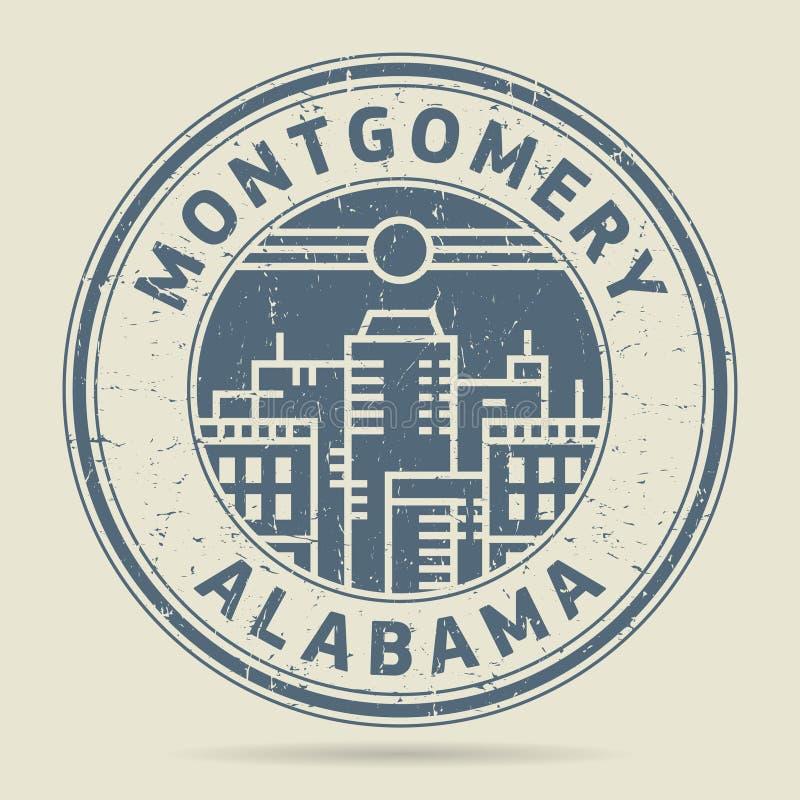 Timbro di gomma o etichetta di lerciume con testo Montgomery, Alabama illustrazione vettoriale