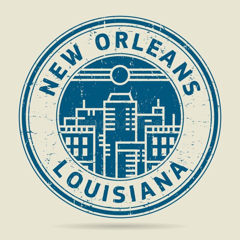 Timbro di gomma o etichetta di lerciume con testo New Orleans, Luisiana illustrazione di stock