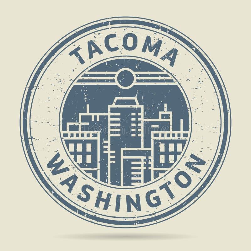 Timbro di gomma o etichetta di lerciume con testo Tacoma, Washington illustrazione di stock