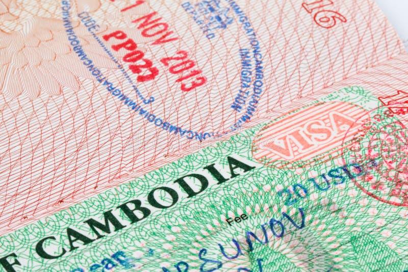 Timbro di visto della Cambogia in passaporto fotografia stock
