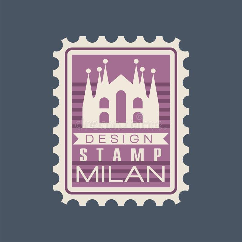 Timbro postale rettangolare originale con Milan Cathedral Segno con il monumento italiano Simbolo con costruzione storica mondo royalty illustrazione gratis