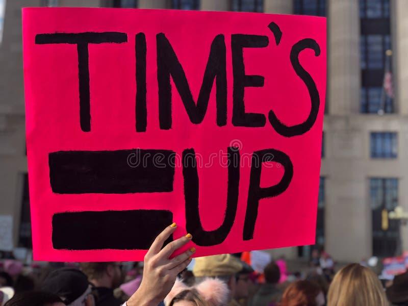 Time's herauf Zeichen ab 2018 Women's März ich auch Bewegung lizenzfreies stockbild