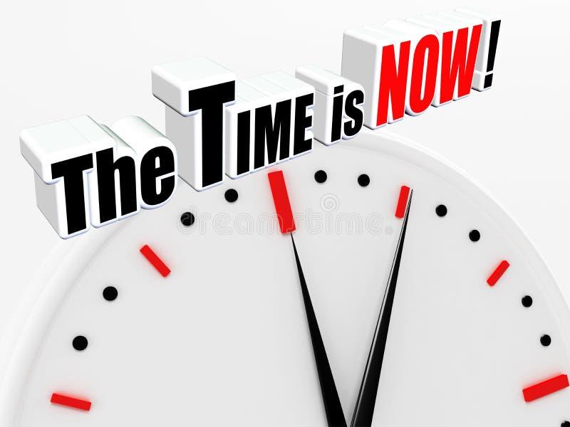 Time är nu! royaltyfri illustrationer