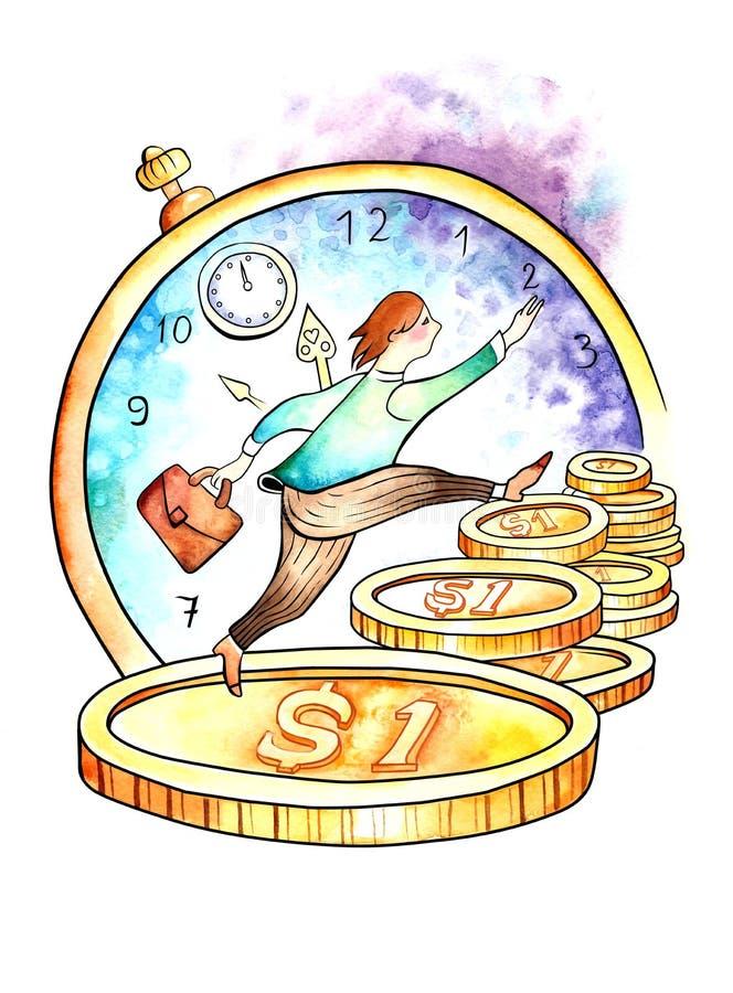 Time är pengar stock illustrationer
