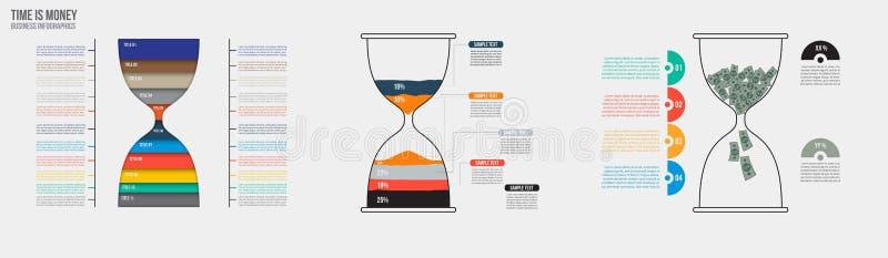 Time är pengar Infographic mall för vektortimglas Planlägg affärsidéen för presentation, graf och diagram royaltyfri illustrationer