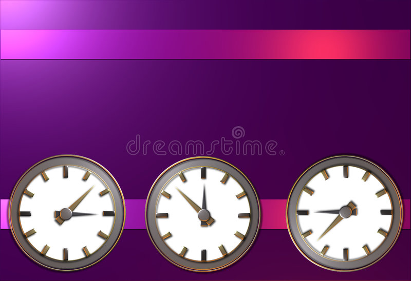 Time. Illustration of 3 clocks showing different times stock illustration