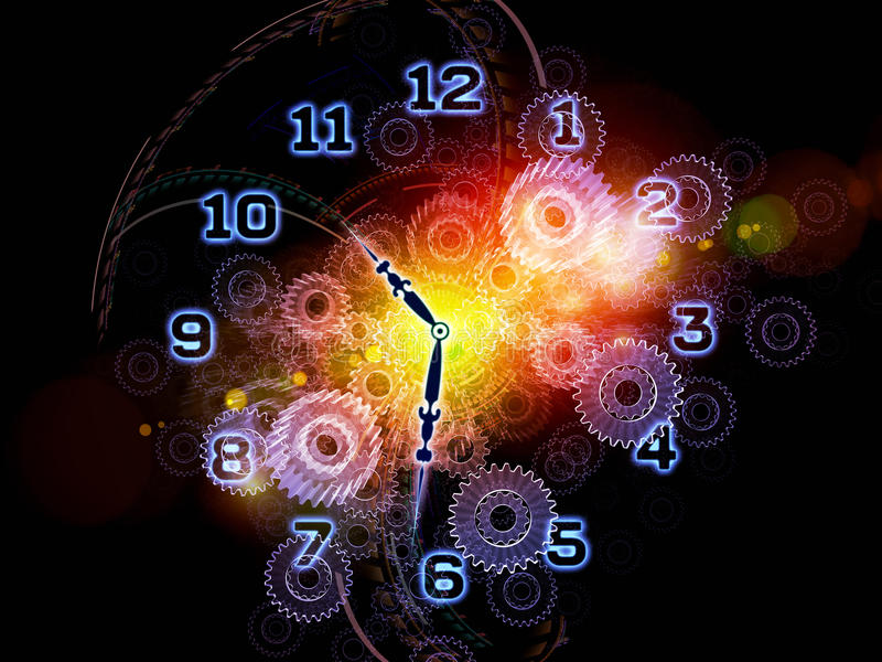 Time abstraction. Composition of clock hands, gears, lights and abstract design elements with metaphorical relationship to time sensitive issues, deadlines vector illustration