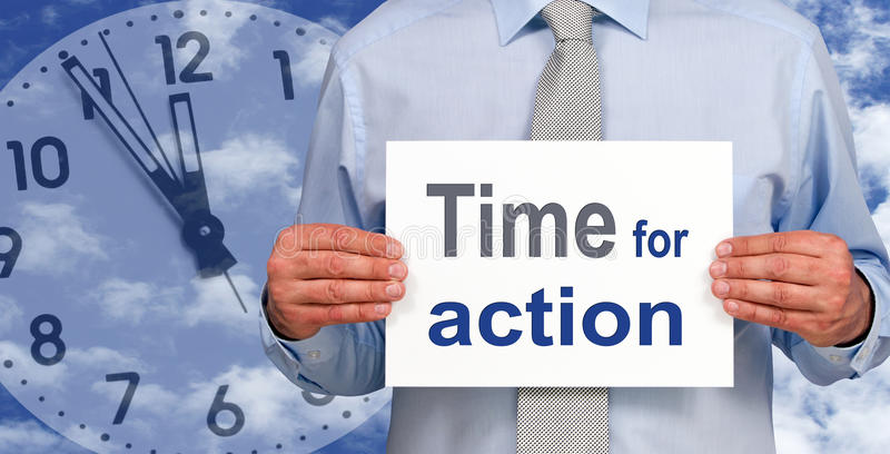Time for action stock photos