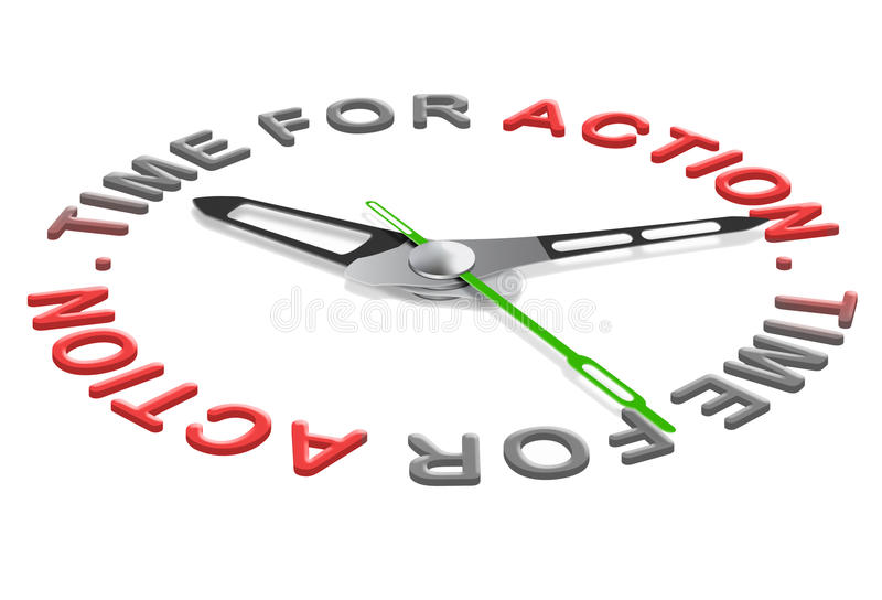 Time for action act now new start stock illustration