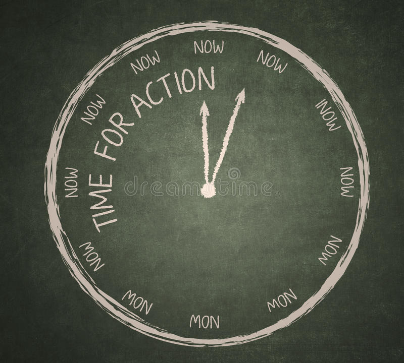 Time for Action on blackboard royalty free illustration