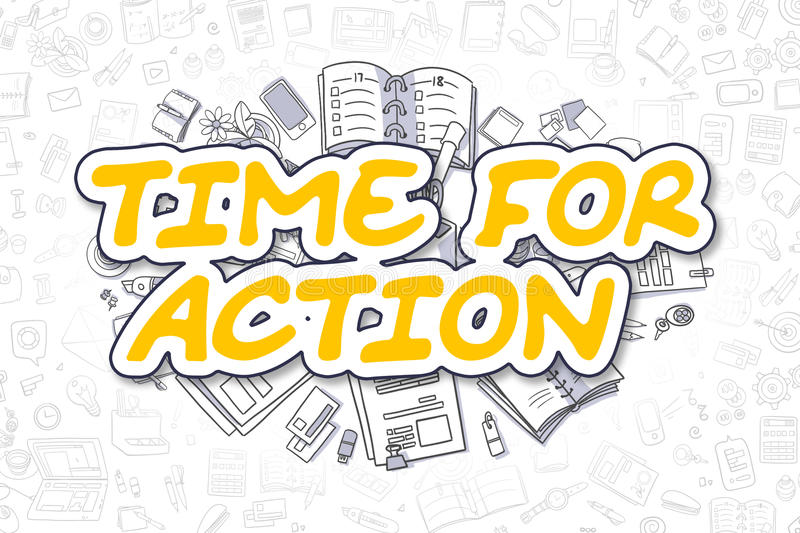 Time For Action - Cartoon Yellow Word. Business Concept. vector illustration