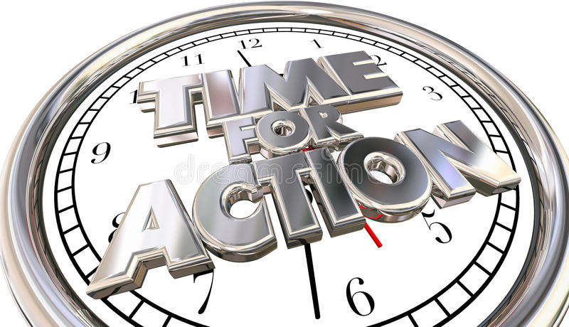 Time for Action Clock Now Move Progress Succeed Words. Time for Action Clock Now Move Progress Succeed 3D Words vector illustration