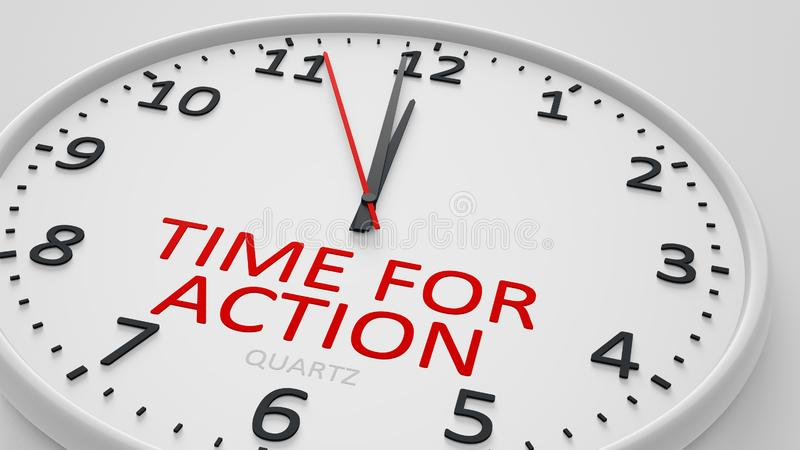 Time for action modern bright clock style. 3d illustration vector illustration