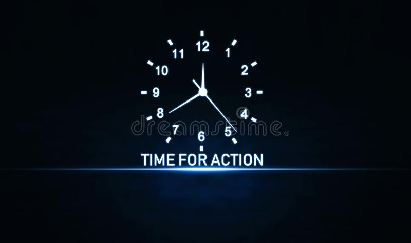 Time For Action word with clock. Business concept stock images
