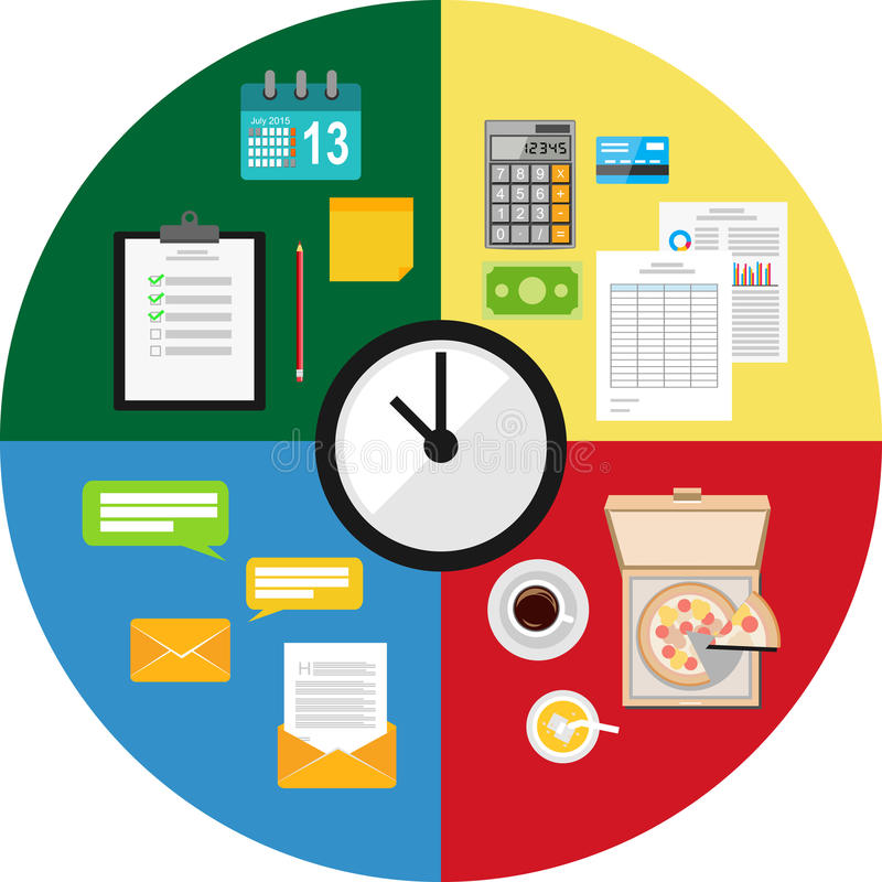 Time of activity. Time management concept illustration. Times table vector illustration