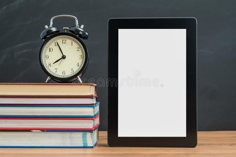The time alway show up on Digital Tablet for semester start stock photos