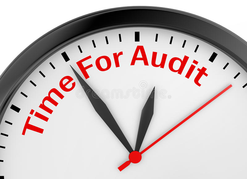 Time for audit. Word on concept clock, 3d rendering royalty free illustration