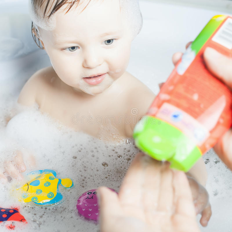 Time for baby\'s bath stock photo. Image of clin, shampo - 71031448
