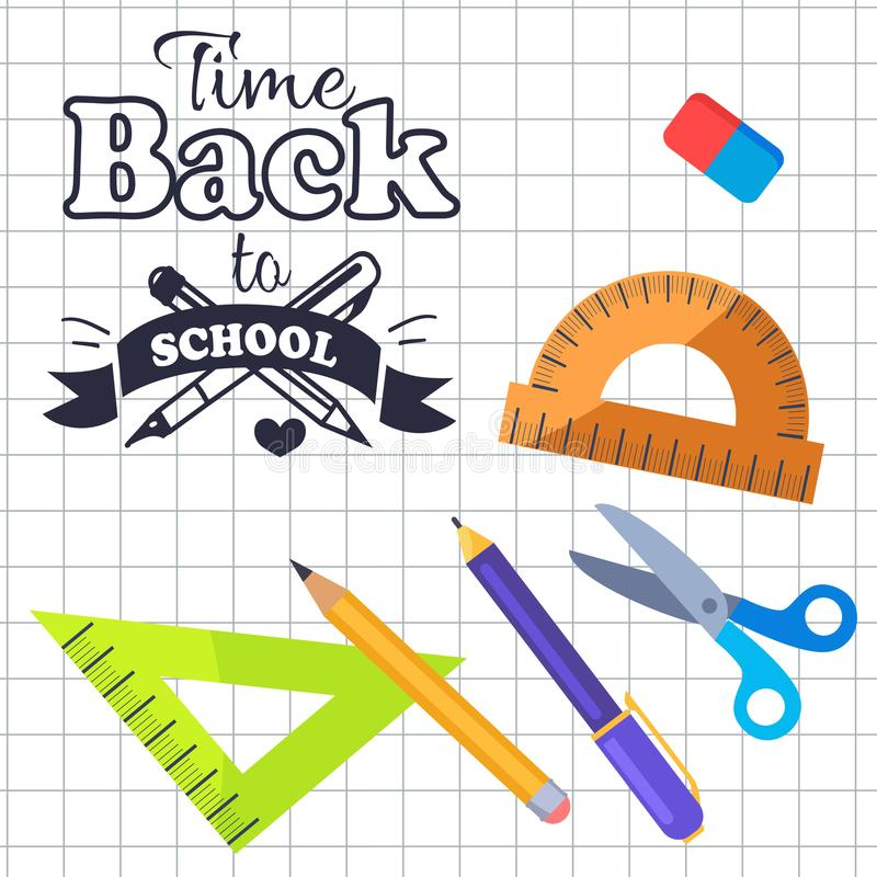 Time Back to School Inscription with Logo Vector. Time back to school logo made of two pens, stationery set wooden protractor , pencils and scissors, plastic stock illustration