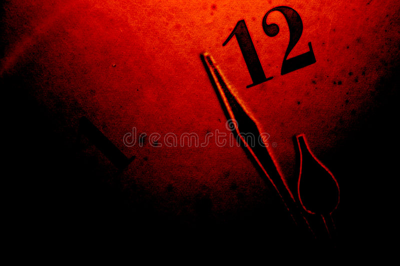 Time background [2]. Dark grunge clock face background with ending time: clock finger near to 12