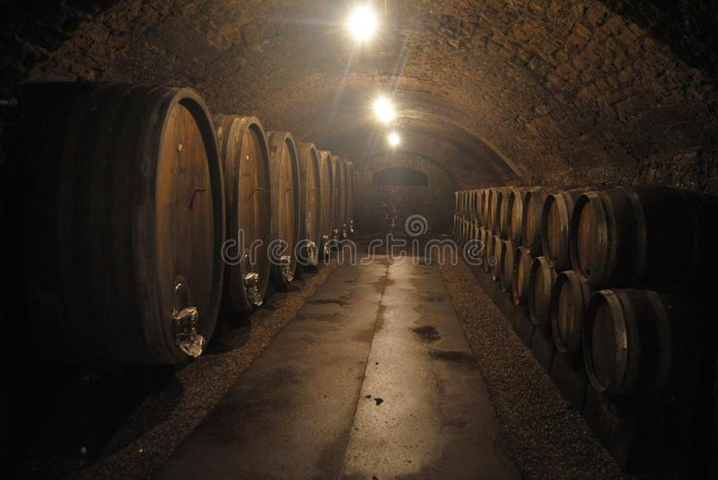 Time-blackened tunnel of St-Martin wine caves in Remich. Remich, Luxembourg - July 11, 2014. Time-blackened tunnel of St-Martin wine caves in Remich, with stock photography