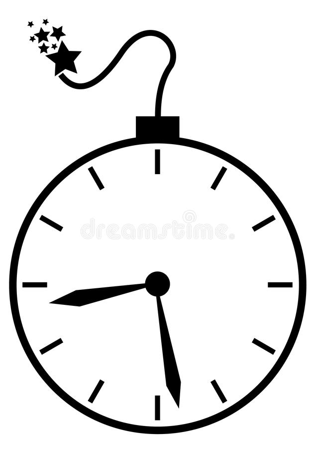 Time Bomb. Clock and a bomb combied to make a time bomb stock illustration