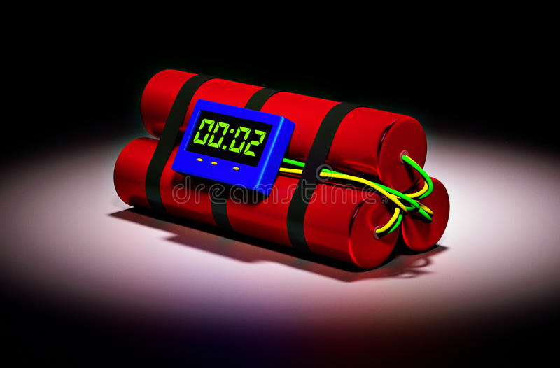 Time Bomb. Threat and danger situation of explosive time bomb stock illustration