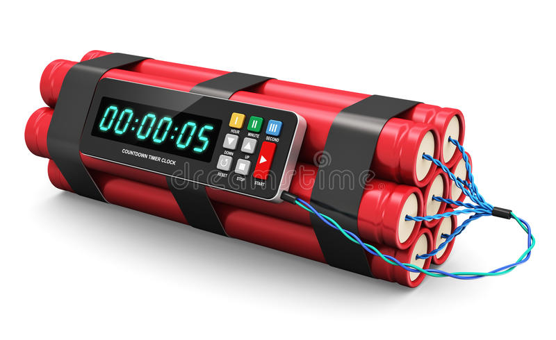 Time bomb. TNT time bomb explosive with digital countdown timer clock isolated on white background stock illustration