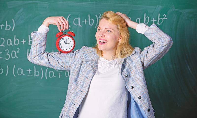 Time for break. Time has matter for her. Welcome teacher school year. Healthy daily regime. Educator start lesson. She. Care about discipline. Woman teacher royalty free stock image