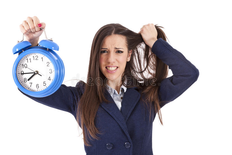 Time. Business woman with clock, time stock photos