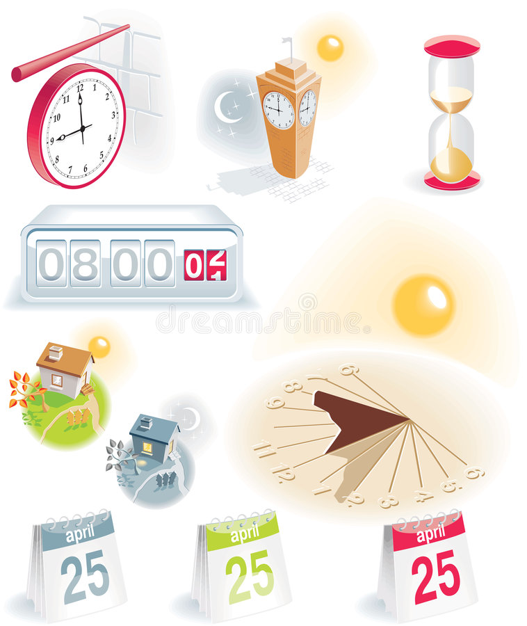 Download Time And Calendar Icons Set Stock Vector - Illustration of sandglass, moon: 8154213