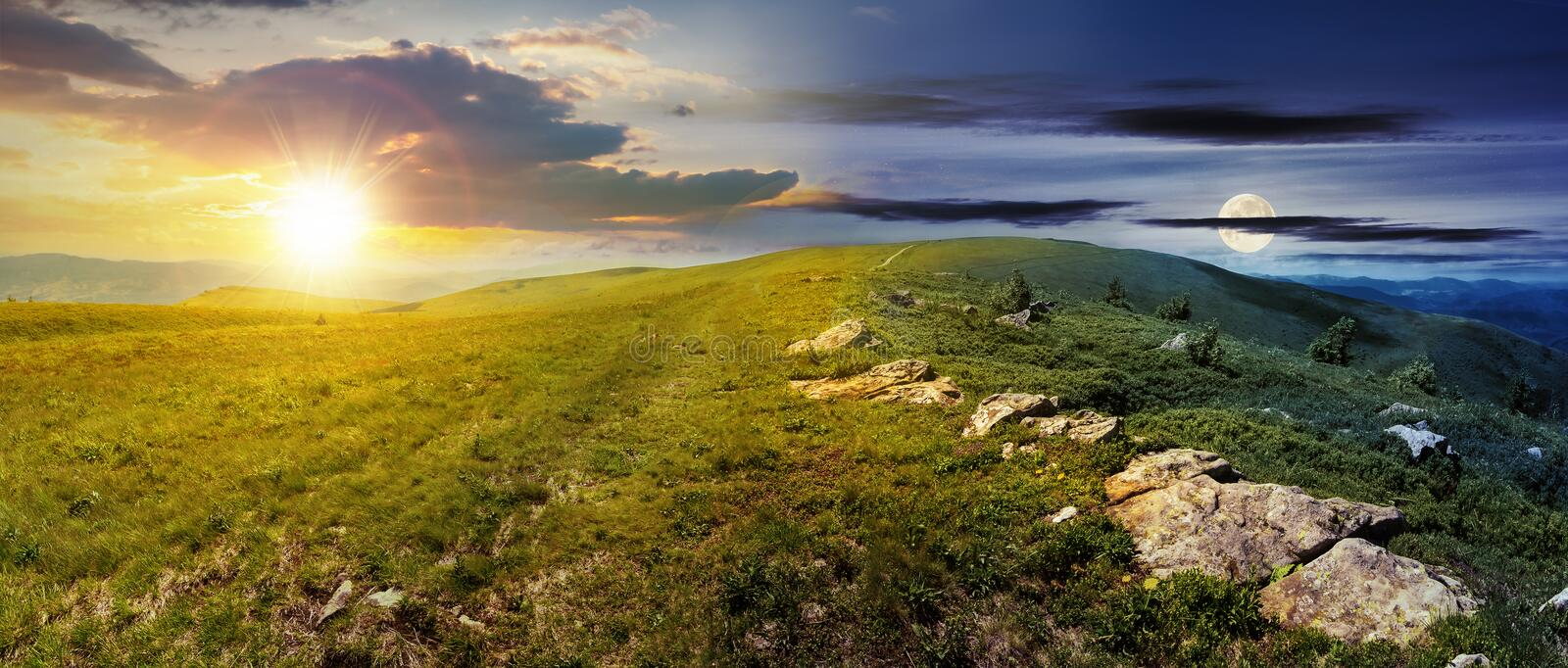 Time change above alpine meadows panorama stock photography