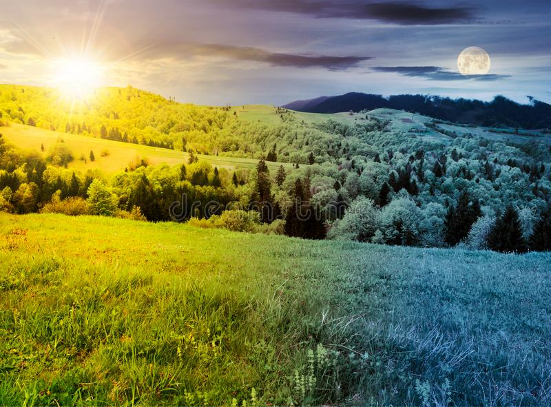 Time change above countryside in springtime stock photo