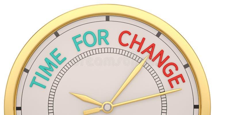 Time for change clock isolated on white background. 3D illustration.  stock illustration