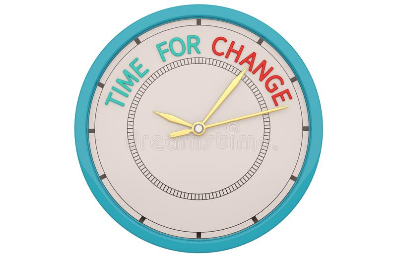 Time for change clock isolated on white background. 3D illustration.  royalty free illustration