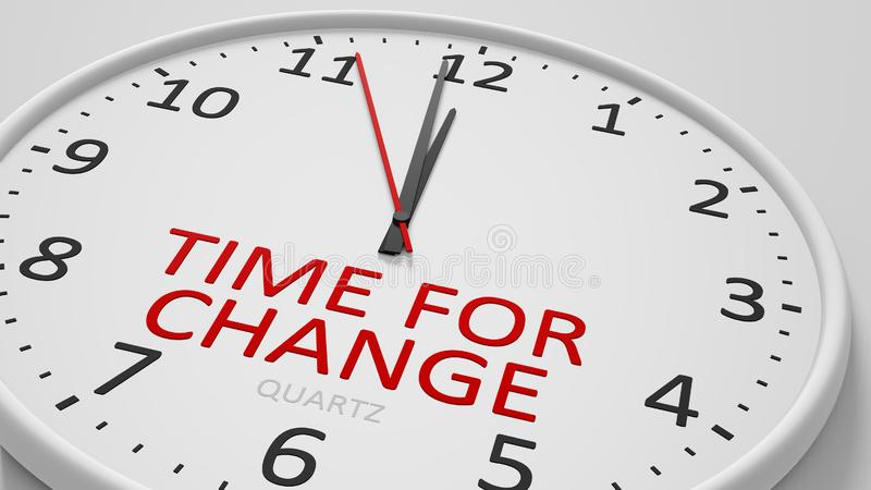 Time for change clock text modern bright style. 3d illustration stock illustration