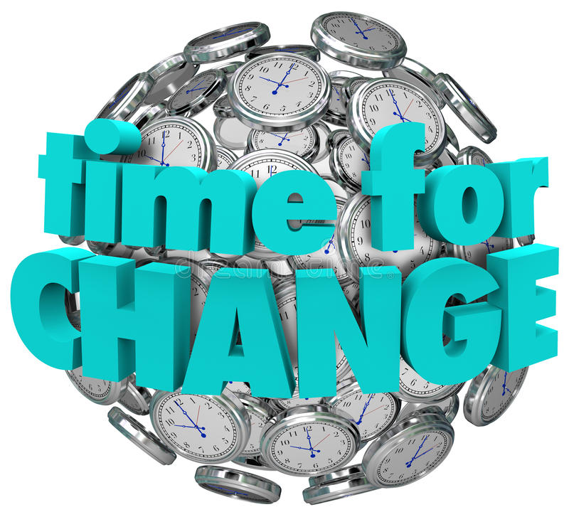 Time for Change Clocks Ball Sphere Innovative Improvement royalty free illustration