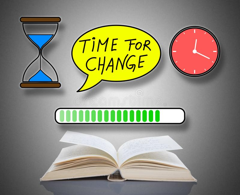 Time for change concept above a book. Time for change concept above an open book royalty free illustration