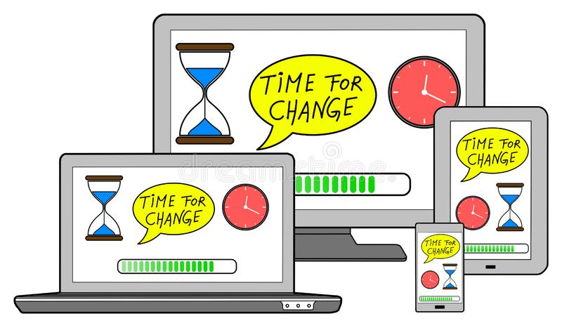 Time for change concept on different devices. Isolated on white vector illustration