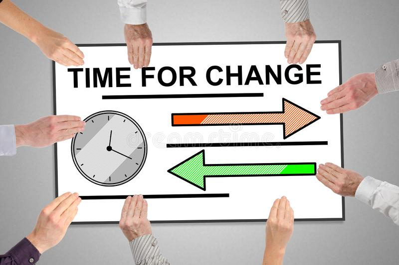 Time for change concept on a whiteboard. Held by hands stock illustration