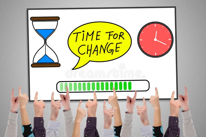 Time for change concept on a whiteboard. Pointed by several fingers stock illustration
