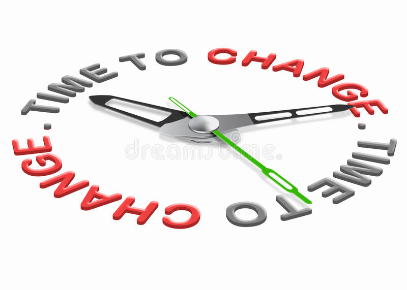 Time for change. Improve for the better evolve and innovate clock indicating improvement changing the world or your life royalty free illustration