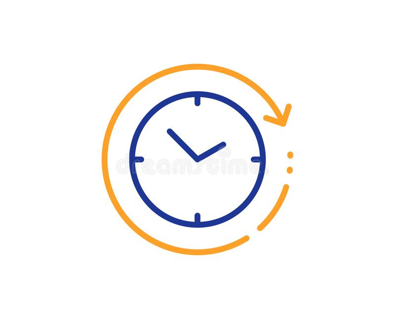 Time change line icon. Clock sign. Watch. Vector. Clock sign. Time change line icon. Watch symbol. Colorful outline concept. Blue and orange thin line time stock illustration