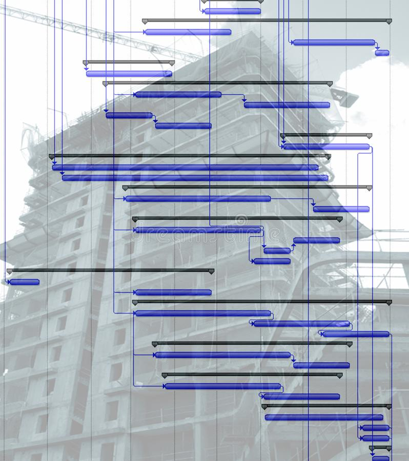 Time chart. Close up of time chart diagram over building construction image royalty free stock photography