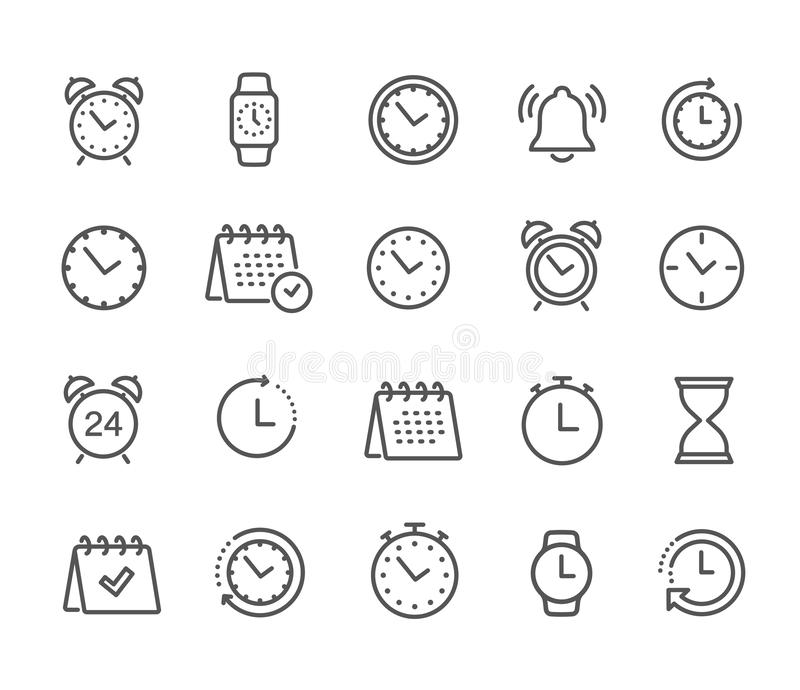 Time and clock, calendar, timer line icons. Vector linear icon set - stock vector royalty free illustration