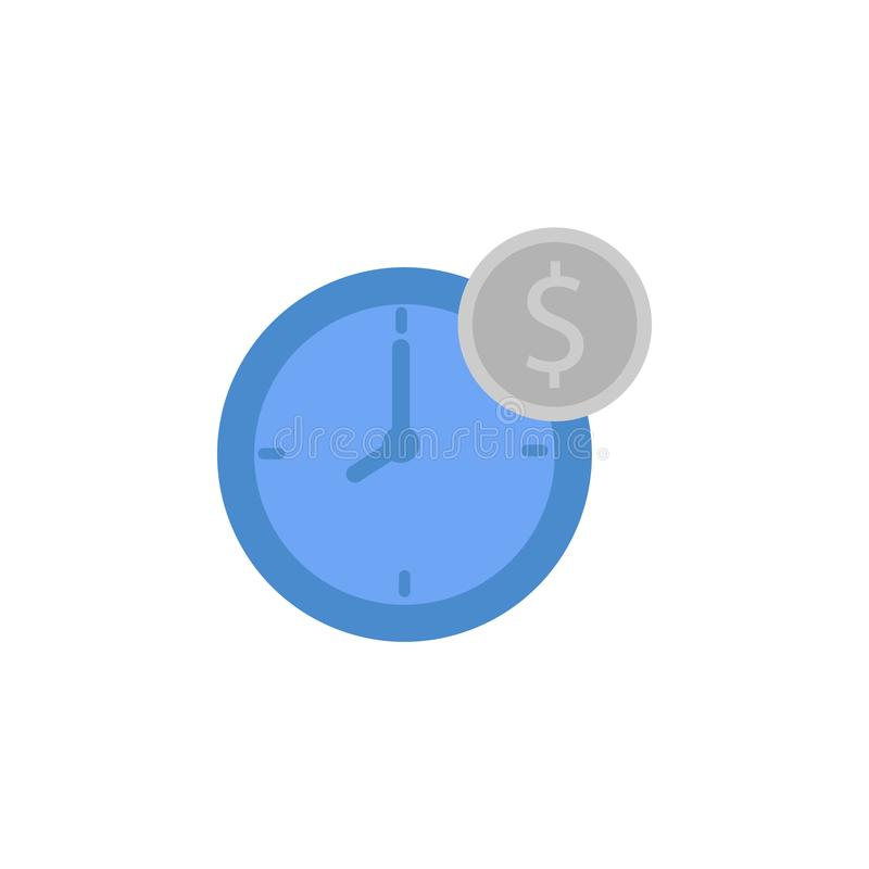 Time, clock, dollar, coins, finance, money two color blue and gray icon. On white background stock illustration