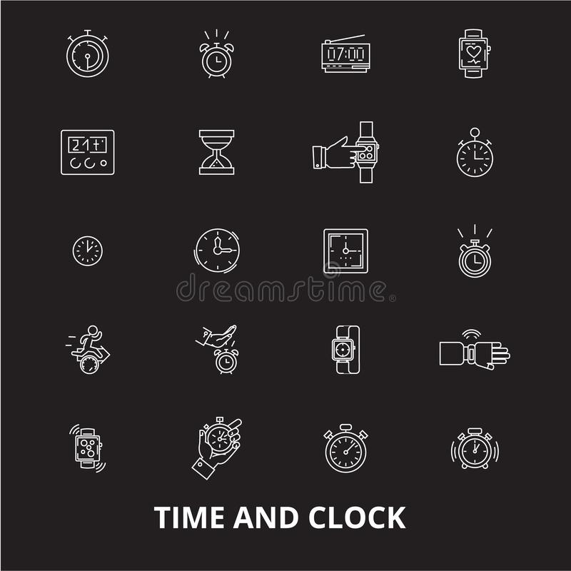 Time and clock editable line icons vector set on black background. Time and clock white outline illustrations, signs stock illustration