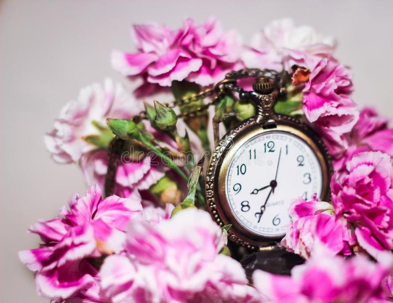 Time clock flowers pink watch. Old antique look beautiful hurry gold watch hours minutes seconds royalty free stock images